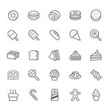 Set of Outline stroke Dessert and Sweet icon Royalty Free Stock Photos