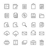 Set of Outline stroke document icon Royalty Free Stock Photo