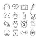 Set of Outline stroke Fitness icons. Vector illustration Royalty Free Stock Image
