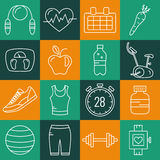 Set of Outline stroke Fitness icons. Vector illustration Royalty Free Stock Images