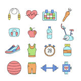 Set of Outline stroke Fitness icons Royalty Free Stock Photo