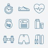Set of Outline stroke Fitness icons Vector. Illustration linear style Stock Photo