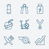 Set of Outline stroke Fitness icons Vector. Illustration linear style Stock Photos