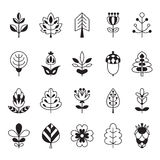 Set of outline stroke icons with tress, leaves and flowers. Stock Images