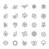 Set of Outline stroke Natural icon. Vector illustration Royalty Free Stock Photography