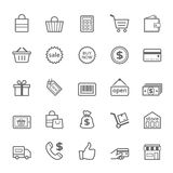 Set of Outline stroke Shopping icon Stock Image