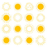 Set outline sun icons Stock Images