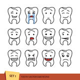 Set of outline tooth. Set of tooth outline emoticons.  vector illustration on white background. Dent emoji Royalty Free Stock Images