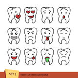 Set of outline tooth. Set of tooth outline emoticons.  vector illustration on white background. Dent emoji Royalty Free Stock Photography