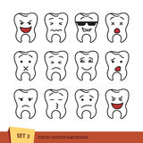 Set of outline tooth. Set of tooth outline emoticons.  vector illustration on white background. Dent emoji Stock Photo