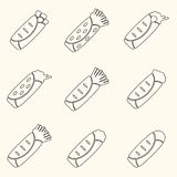Set of outline tortilla food icons set Royalty Free Stock Photography