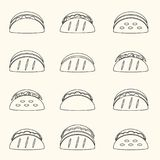 Set of outline tortilla tacos food icons set Stock Photography