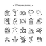 Set of Outline Travel Icons on White Background Stock Photography