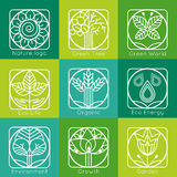 Set of outline tree monograms and logos. Abstract. Organic, ecology and bio design elements and badges. Vector illustration vector illustration