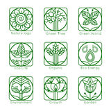 Set of outline tree monograms and logos. Abstract Stock Photography