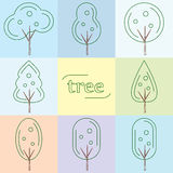 Set outline trees icons Royalty Free Stock Images