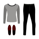Set of outline trendy men's clothes with pants, pullover  Stock Photos