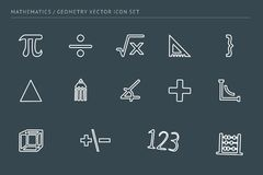 A set of outline vector icons on a theme school education. Subject of mathematics. Ruler, euglon, numbers, signs Royalty Free Stock Photography