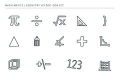 Set of outline vector icons on a theme school education. A set of outline vector icons on a theme school education. Subject of mathematics. Ruler, euglon Stock Images