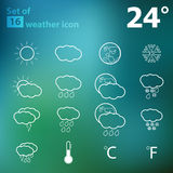 Set of 16 Outline Vector Weather Icon Royalty Free Stock Images