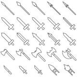 Set of 25 outline weapon icons isolated on white background. Medieval weapon silhouette. Vector illustration for your design. stock illustration