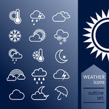 Set of outline weather icons Royalty Free Stock Photo