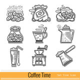 Set of Outline Web Icon. Coffee Time Royalty Free Stock Photography