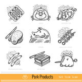 Set of Outline Web Icon. Meat Grill BBQ Pork Products Stock Image