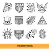 Set of Outline Web Icon. Symbols of America USA Royalty Free Stock Photos