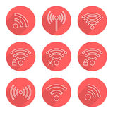 Set of outline wifi icons in red circles with long. Shadow. isolated on white background. modern vector illustration Stock Photos