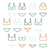 Women`s swimwear set. Set of outline women`s swimwear -  vector illustration Royalty Free Stock Photo