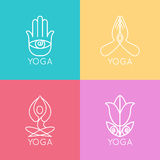 Set of outline yoga monograms and logos. Abstract Stock Image