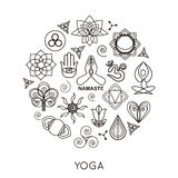 Set of outline yoga monograms and logos. Abstract. Yoga design elements, icons and badges. Vector illustration royalty free illustration