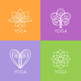 Set of outline yoga monograms and logos. Abstract. Yoga design elements, icons and badges. Vector illustration stock illustration