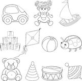 Set of outlined baby's toys elements Royalty Free Stock Photos