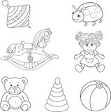 Set of outlined baby's toys elements Stock Photo
