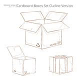 Set of outlined cardboard boxes. On a white background Royalty Free Stock Photo
