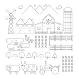 Set of outlined farm. Chicken, Duck, Sheep, Cow, Tractor, Wareho Royalty Free Stock Images