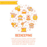 Set of outlined honey and beekeeping icons Royalty Free Stock Images
