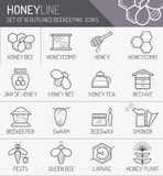 Set of outlined honey and beekeeping icons Royalty Free Stock Photography