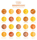 Set of outlined honey and beekeeping vector icons Stock Photo