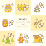 Set of outlined honey and beekeeping vector icons Stock Photos