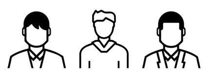 Set of outlined male avatars including: formal and informal shapes. line art. Icons stock illustration
