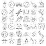 Set of outlined space equipment icons. ufo Royalty Free Stock Photo