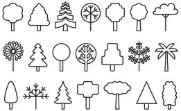Set of outlined tree icons. Illustrated set of outlined tree icons on a white background Stock Images