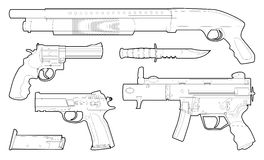 Set of outlined various weapons. Illustration Royalty Free Stock Photography