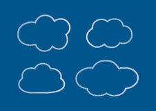Set of outlines of clouds. Doodle. Stock Photography