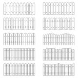 Set of outlines of fences, vector illustration Royalty Free Stock Photography