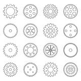 Set of outlines of gear wheels, vector illustration. Collection of outlines of gear wheels, vector illustration Royalty Free Stock Image