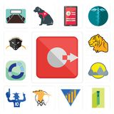 Set of output, zipper, yield, hoopoe, sports fan, montain, sector, tiger, honey badger icons. Set Of 13 simple editable icons such as output, zipper, yield Royalty Free Stock Photo